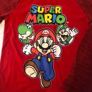 Kids Size 8 Super Mario Raglan Long Sleeve Shirt